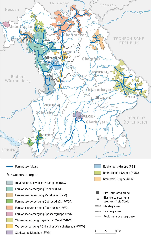 Karte Fernwasserversorgung In Bayern Wasserschule Mittelfranken